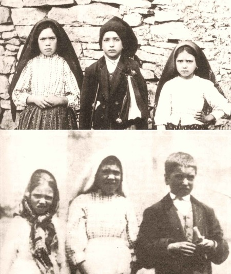 Lúcia, Francisco e Jacinta. Em cima antes da visão do Inferno. Embaixo eles logo após a visão